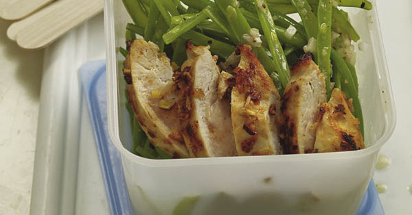 rezept f r gr ner bohnensalat mit ingwerh hnchen k cheng tter. Black Bedroom Furniture Sets. Home Design Ideas