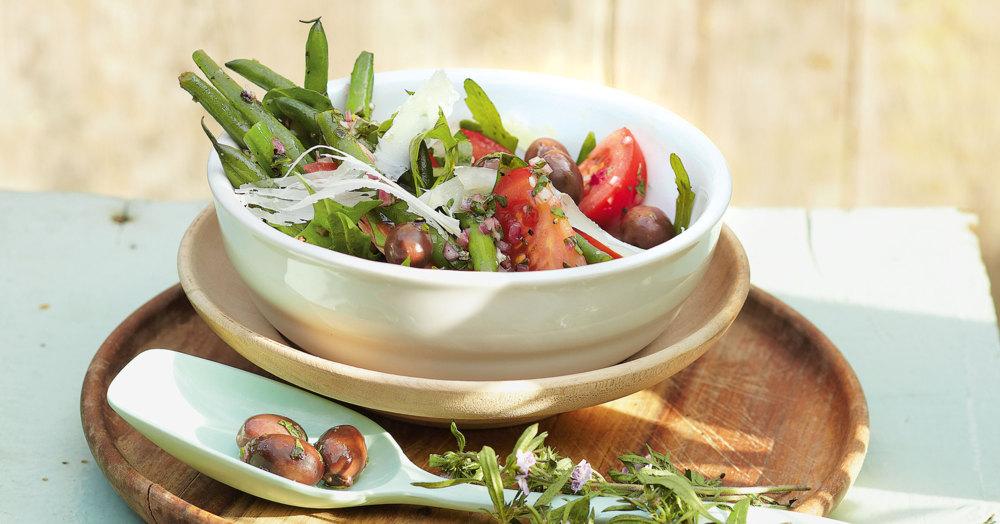 Bohnensalat mit Rucola und Oliven