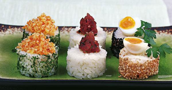 Dreierlei Sushi-Canapés