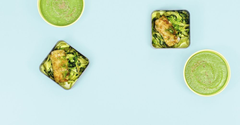 Fenchel-Spinat-Suppe und Fenchel-Spinat-Gemüse mit Fischfilet