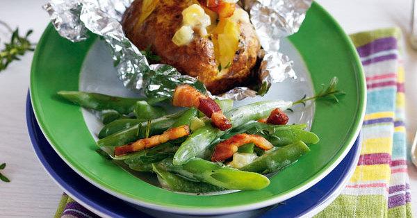 Ofenkartoffeln mit Speck-Bohnen