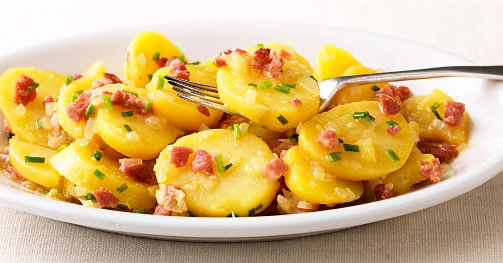 Schwäbischer Kartoffelsalat Mit Speck Rezept Küchengötter