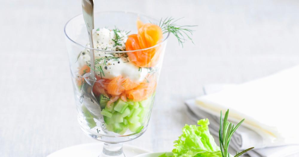 Räucherlachs-Gurken-Salat