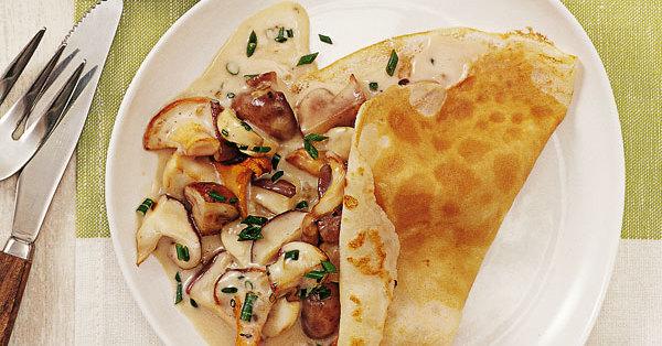 Pfannkuchen mit Pilzen