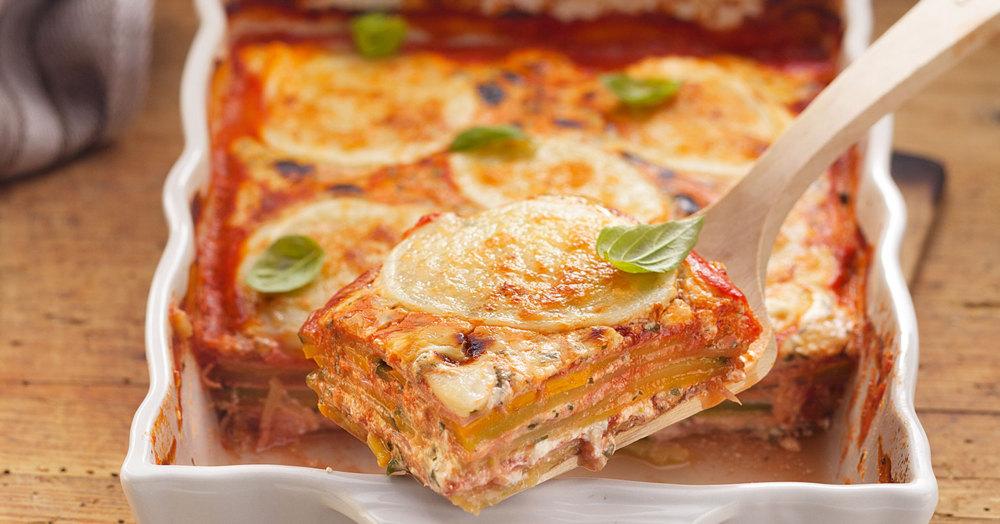 Zucchini-Schinken-Lasagne mit Parmesancreme