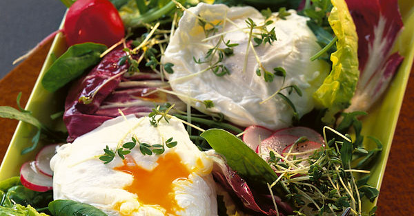 verlorene eier mit salat rezept k cheng tter. Black Bedroom Furniture Sets. Home Design Ideas