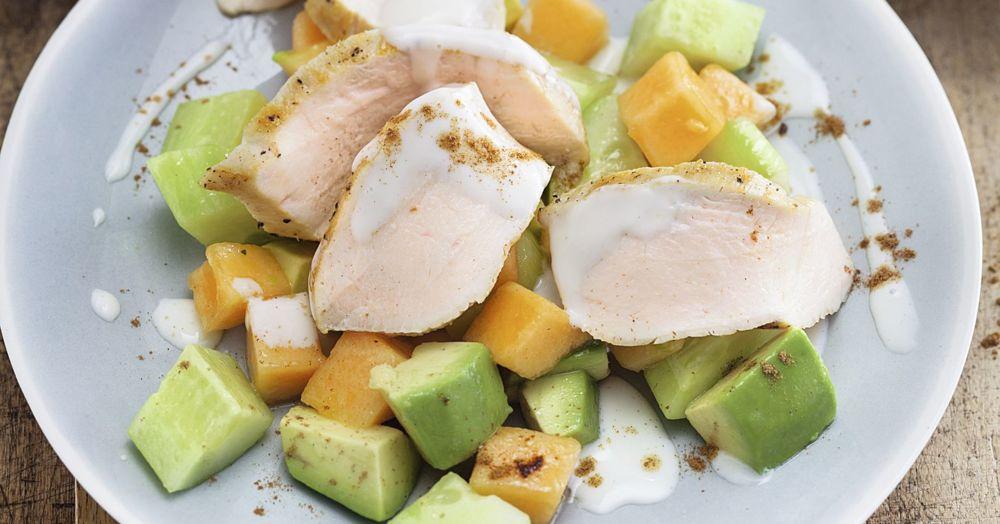 melone gurken salat h hnchenbrust rezept low carb k cheng tter. Black Bedroom Furniture Sets. Home Design Ideas