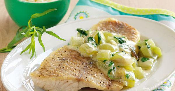 Fischfilet mit Estragon-Gurken