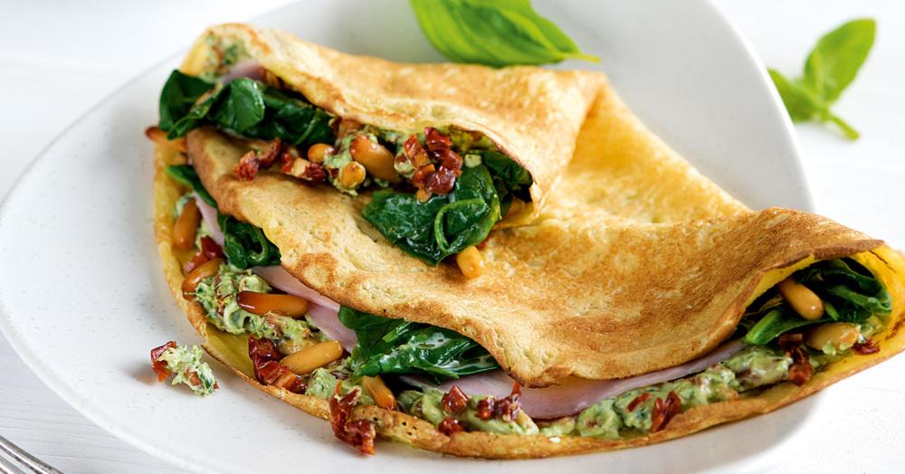Schinken-Spinat-Pfannkuchen