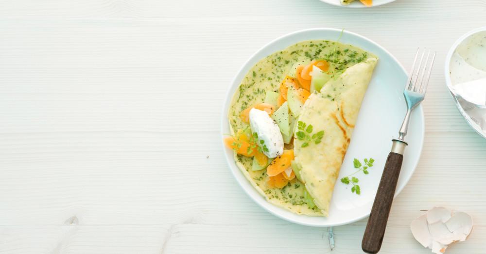 Kerbel-Pfannkuchen mit Gemüse