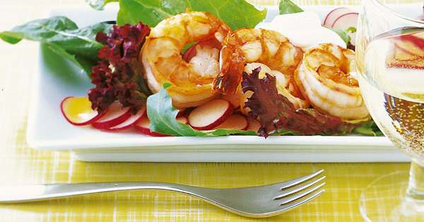 wildkr uter salat mit garnelen rezept k cheng tter. Black Bedroom Furniture Sets. Home Design Ideas