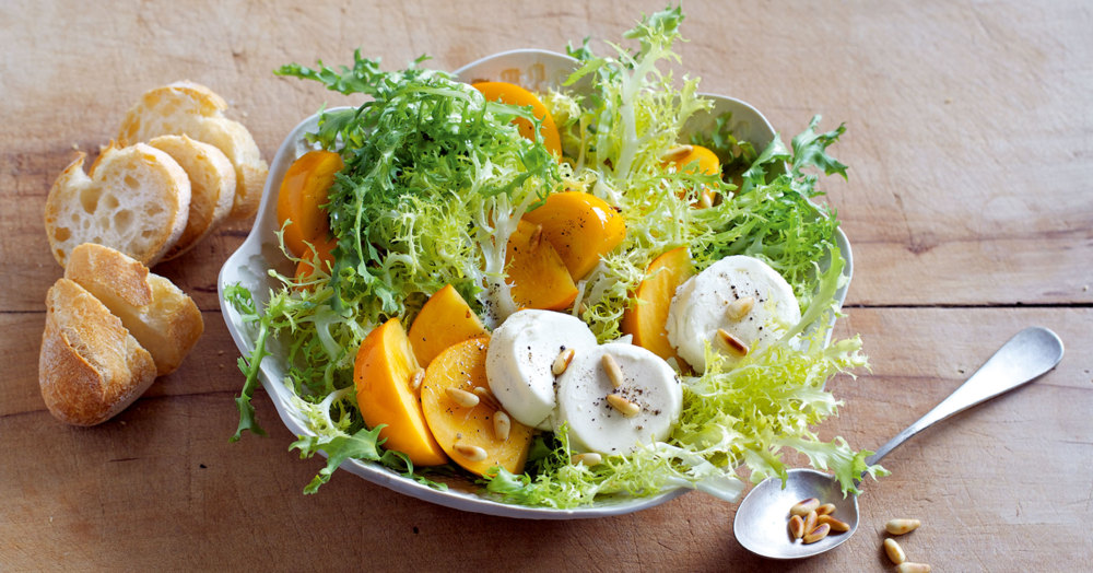 rezept f r kaki fris e salat mit ziegenk se k cheng tter. Black Bedroom Furniture Sets. Home Design Ideas
