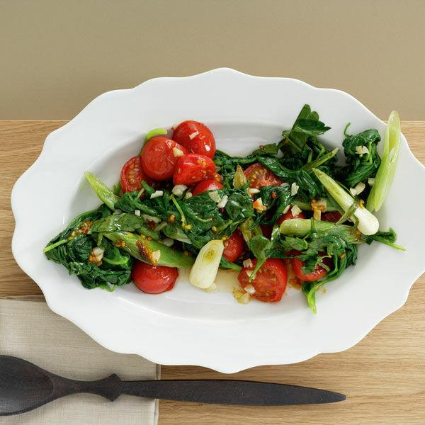 Blattspinat Mit Tomaten Rezept Küchengötter