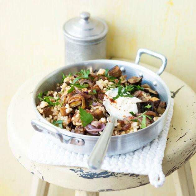 Libanesischer Auberginen-Bulgur Rezept   Küchengötter