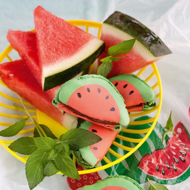 wassermelonen macarons rezept k cheng tter. Black Bedroom Furniture Sets. Home Design Ideas