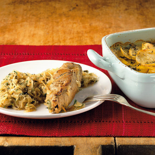 schnitzelröllchen mit kartoffelgratin rezept | küchengötter - Küchengötter Schlank Im Schlaf