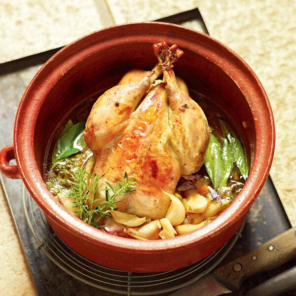 Huhn mit 40 Knoblauchzehen Rezept | Küchengötter
