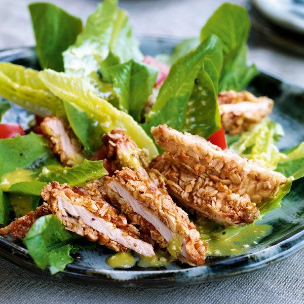 caesar salad mit knusperschnitzel rezept k cheng tter. Black Bedroom Furniture Sets. Home Design Ideas