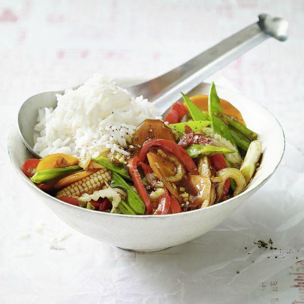 Reis mit Thai-Gemüse