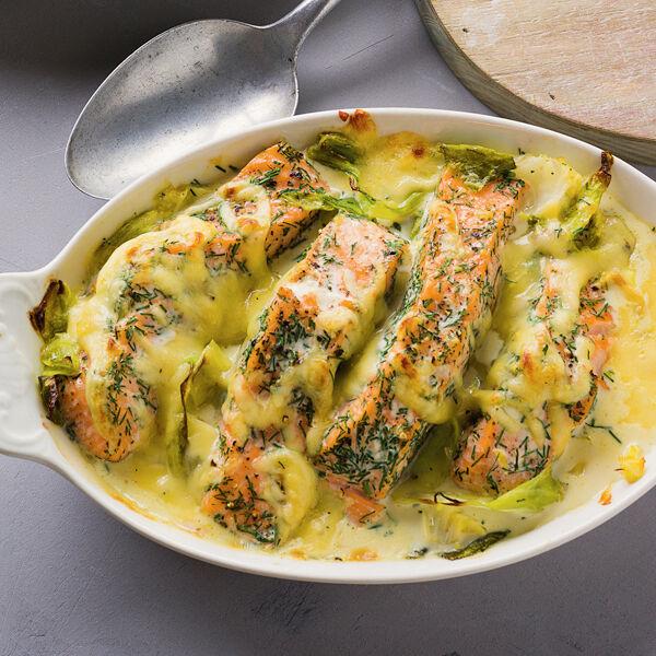 Lachs Spitzkohl Auflauf Rezept Küchengötter