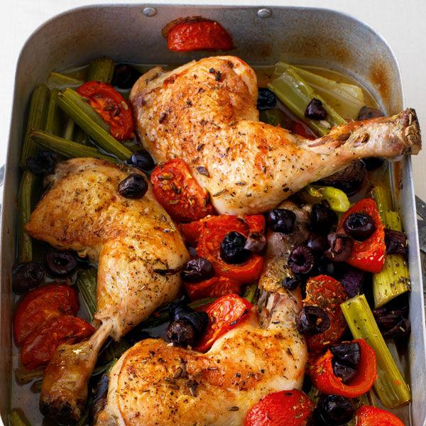 Hähnchenschenkel Mit Tomaten Und Oliven Aus Dem Ofen Rezept