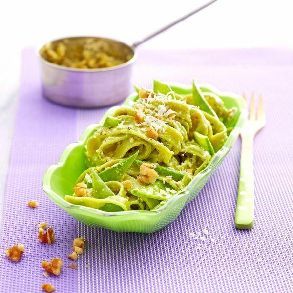 Grüne Nudeln Mit Ingwer Limetten Pesto Rezept Küchengötter