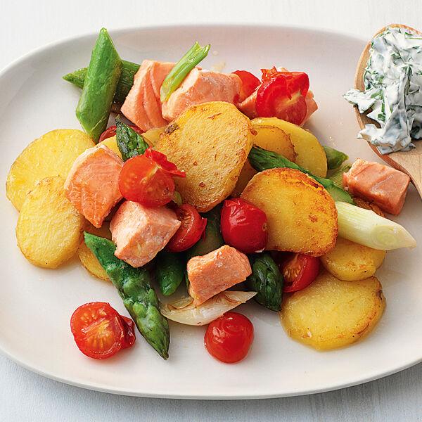 Kartoffelpfanne Mit Lachs Und Spargel Rezept Küchengötter