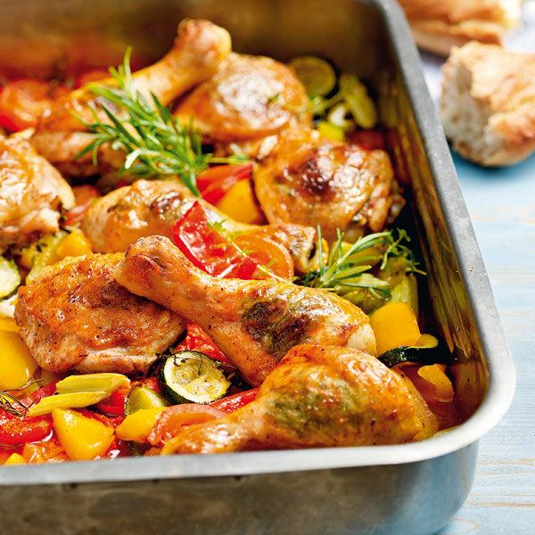 Hähnchenkeulen Auf Ofengemüse Rezept Küchengötter