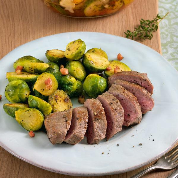 lammfilet mit speck-rosenkohl rezept | küchengötter - Küchengötter Schlank Im Schlaf