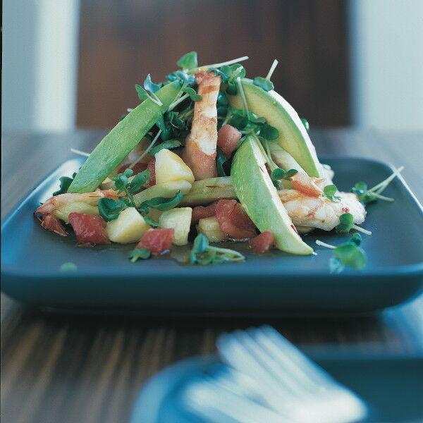 garnelen kartoffel salat mit safran dressing rezept k cheng tter. Black Bedroom Furniture Sets. Home Design Ideas