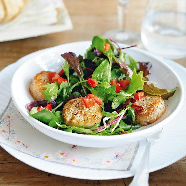 Blattsalat Mit Jakobsmuscheln Rezept Küchengötter