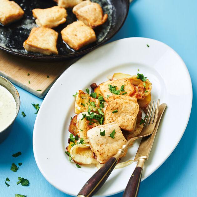 Pannfisch mit Senfsauce Rezept   Küchengötter