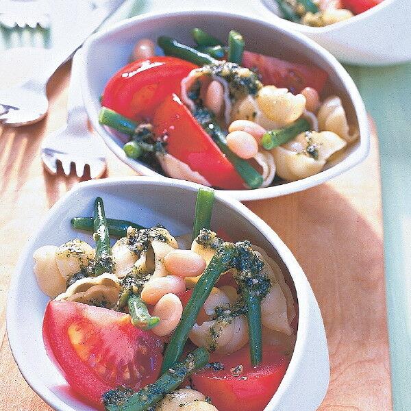 pasta bohnen salat mit pesto dressing rezept k cheng tter. Black Bedroom Furniture Sets. Home Design Ideas
