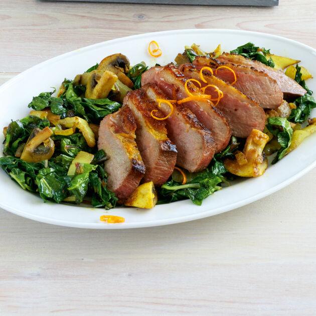 Entenbrust mit Mangoldgemüse Rezept | Küchengötter