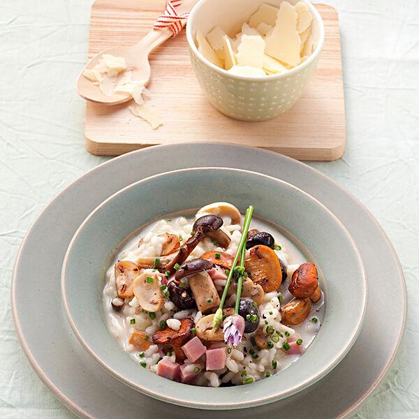 pilz risotto mit gekochtem schinken und parmesan rezept k cheng tter. Black Bedroom Furniture Sets. Home Design Ideas