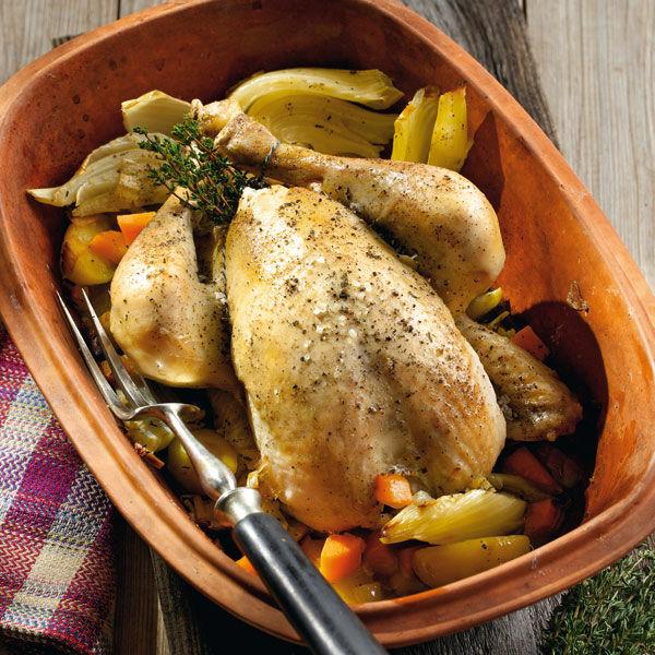 Huhn Mit Fenchelgemüse Aus Dem Römertopf Rezept Küchengötter