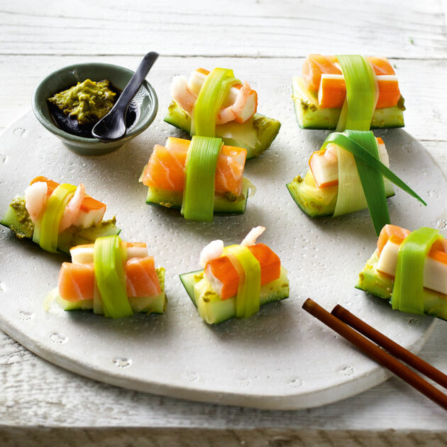 SIS-Sushi mit Lachs und Gurke Rezept | Küchengötter