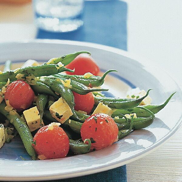 gr ne bohnen mit feta und tomaten rezept k cheng tter. Black Bedroom Furniture Sets. Home Design Ideas