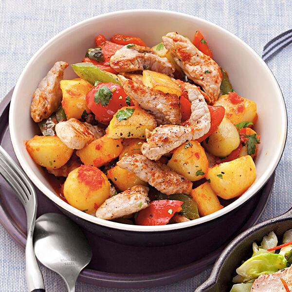 Kartoffel paprika pfanne mit schweinefleisch rezept for Schnelle gerichte buch
