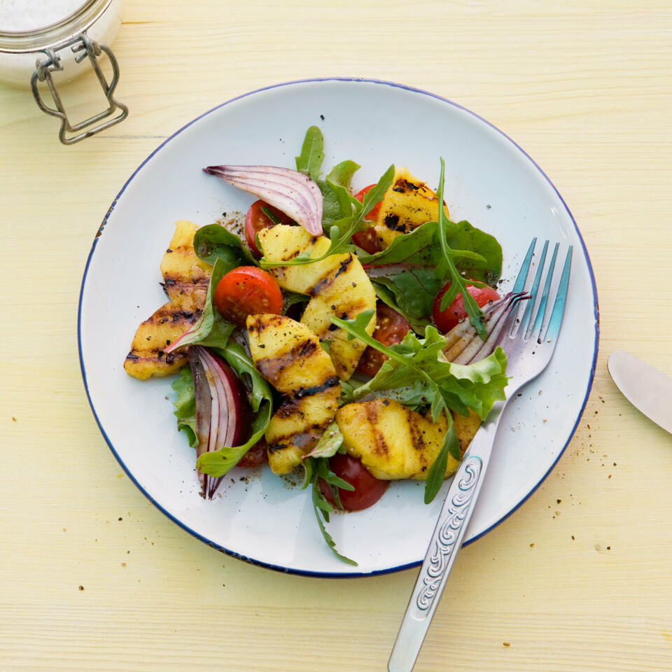 Blattsalat Mit Gegrillter Ananas Rezept Küchengötter