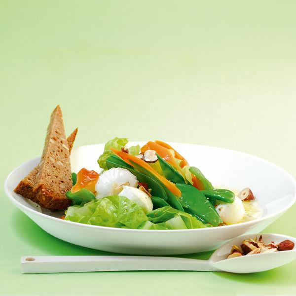 zuckerschoten m hren salat mit mozzarellakugeln rezept k cheng tter. Black Bedroom Furniture Sets. Home Design Ideas