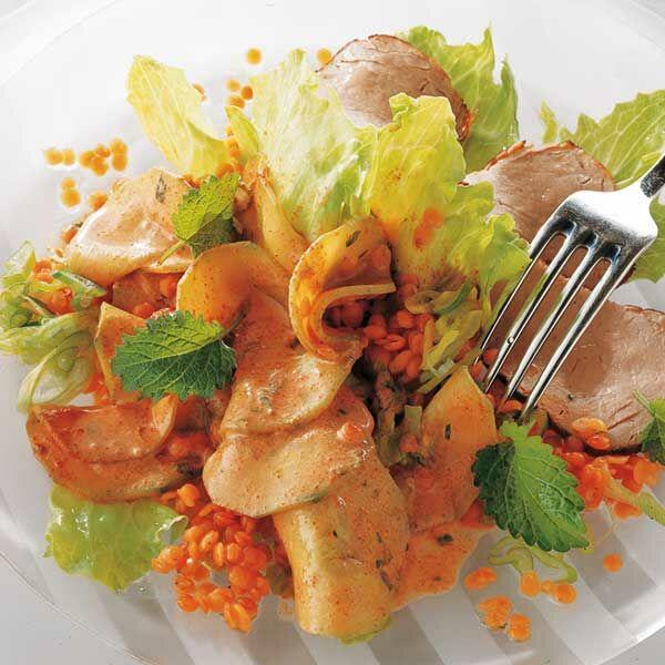 linsen gurken salat mit curry dressing rezept k cheng tter. Black Bedroom Furniture Sets. Home Design Ideas