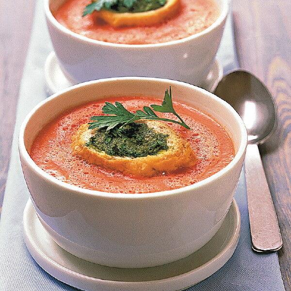 tomatensuppe mit kr uter cro tons rezept k cheng tter. Black Bedroom Furniture Sets. Home Design Ideas