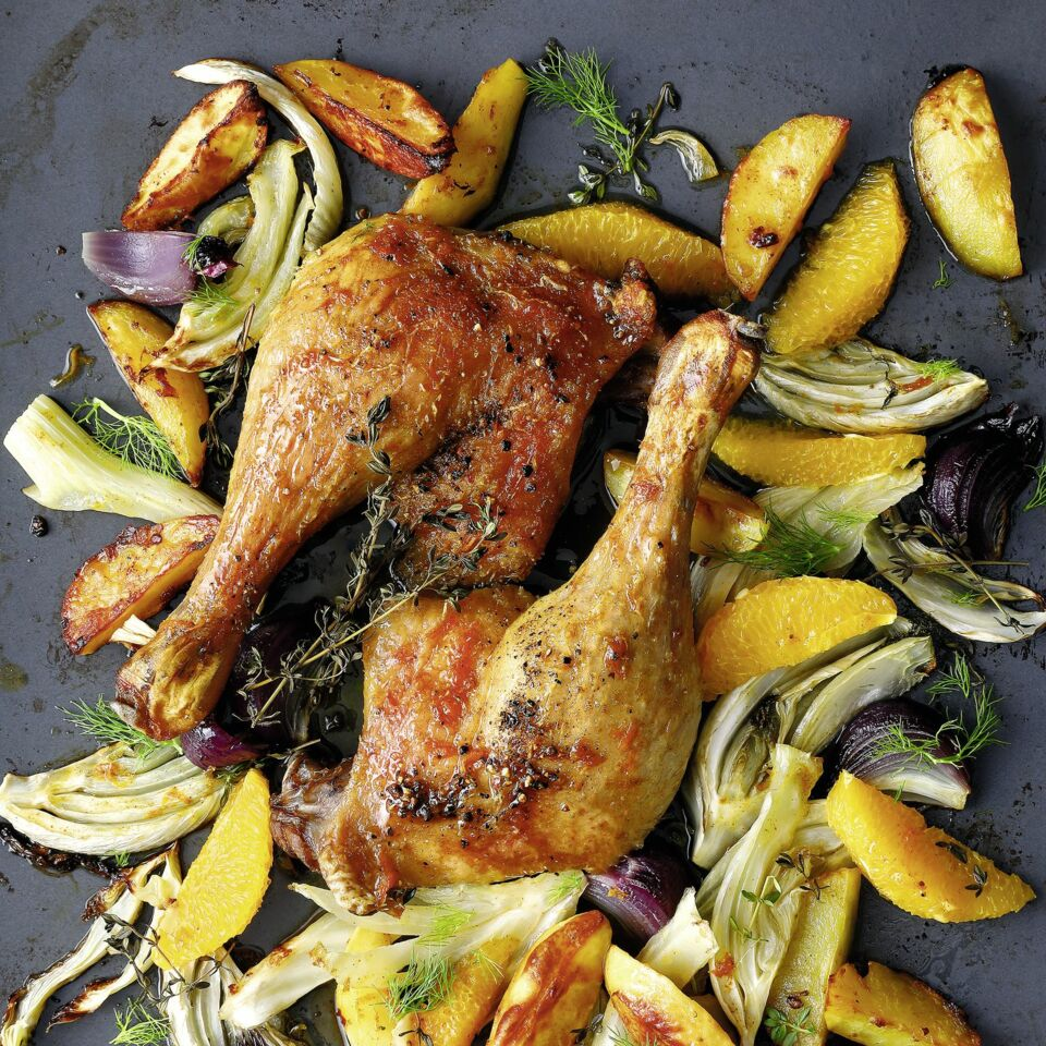 Ente mit Kartoffeln, Fenchel und Orange