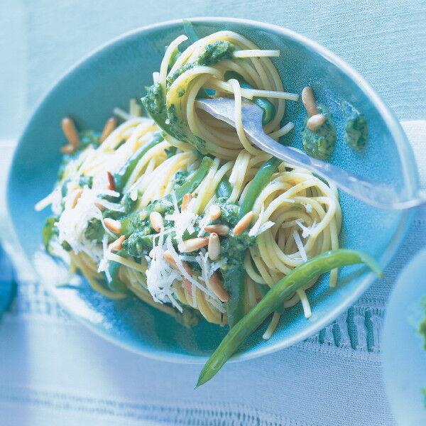 vegetarische spaghetti mit gr nen bohnen rezept k cheng tter. Black Bedroom Furniture Sets. Home Design Ideas