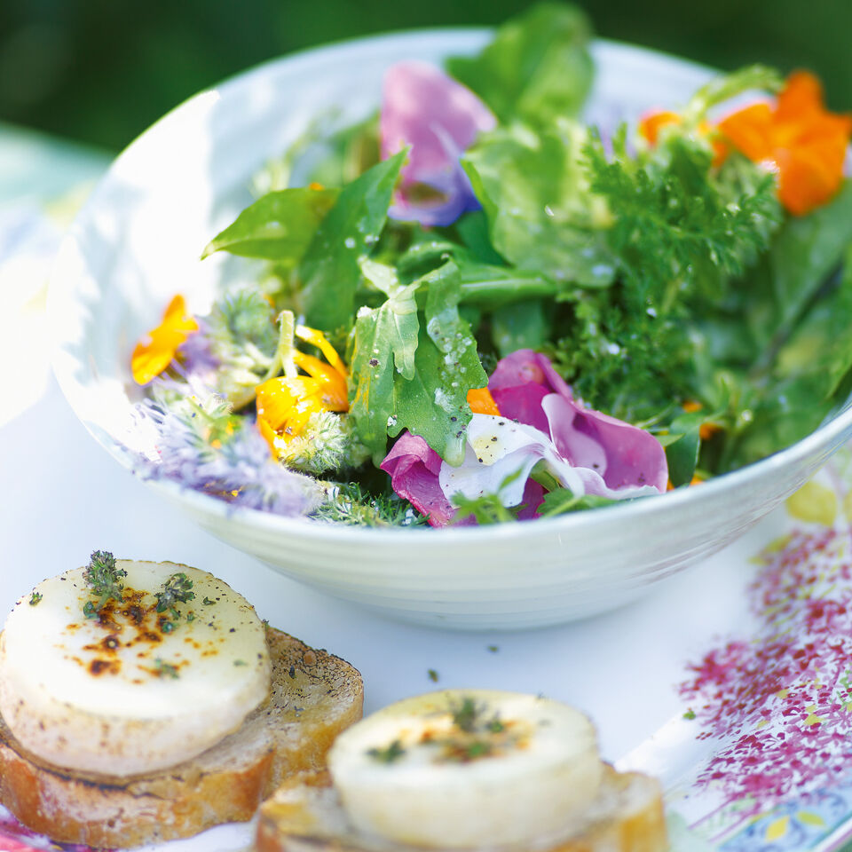 kr uter bl ten salat mit ziegenk se und holundervinaigrette rezept k cheng tter. Black Bedroom Furniture Sets. Home Design Ideas
