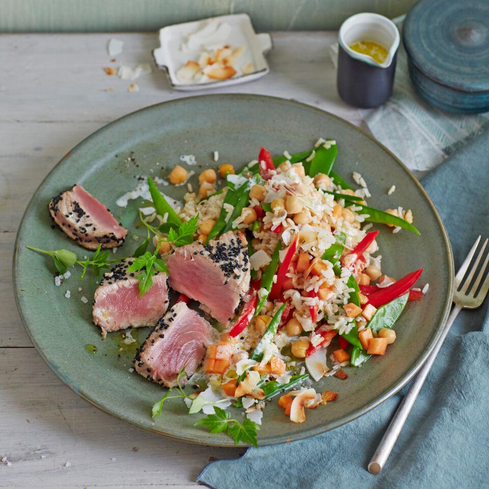 kichererbsen reis salat mit thunfisch rezept k cheng tter. Black Bedroom Furniture Sets. Home Design Ideas