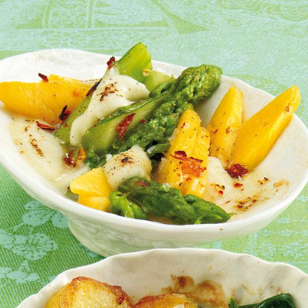 gr ner spargel mit mango rezept raclette k cheng tter. Black Bedroom Furniture Sets. Home Design Ideas