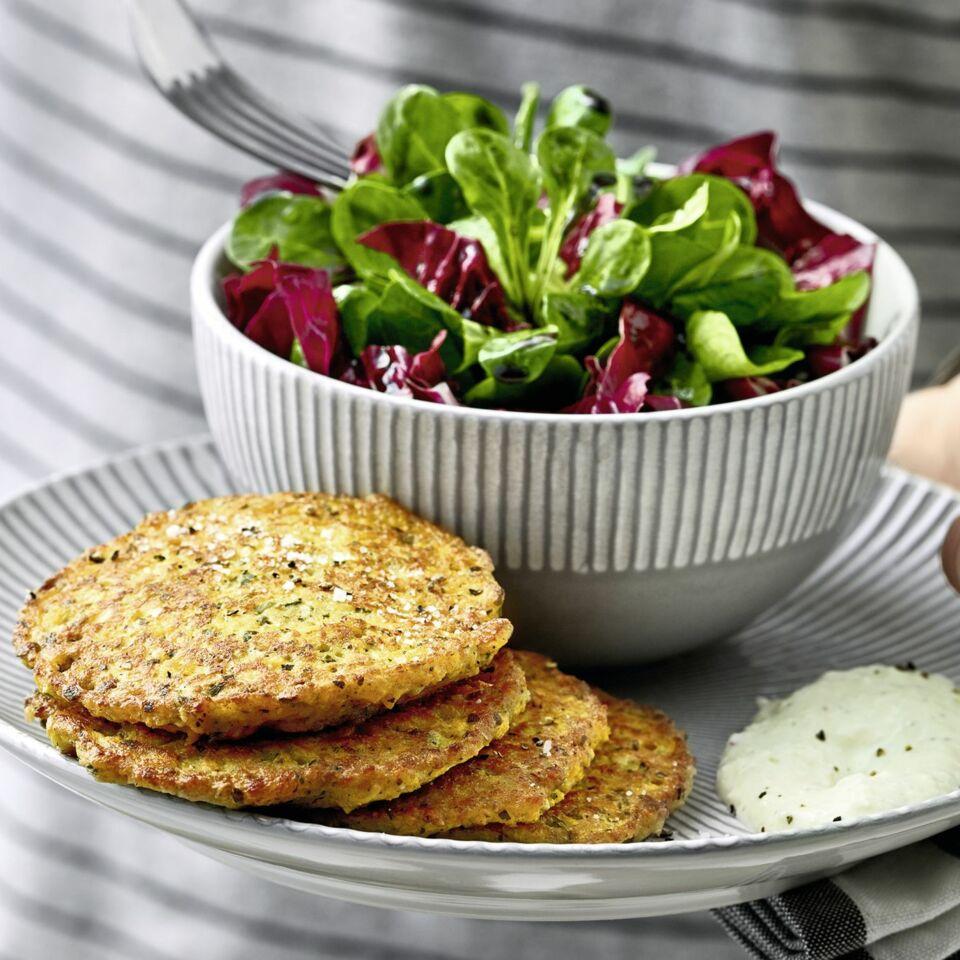Kurbis Pancakes Mit Meerrettich Birnen Dip