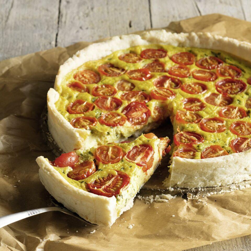 Veganer Seidentofu Guss Auf Tomatenquiche Rezept Kuchengotter